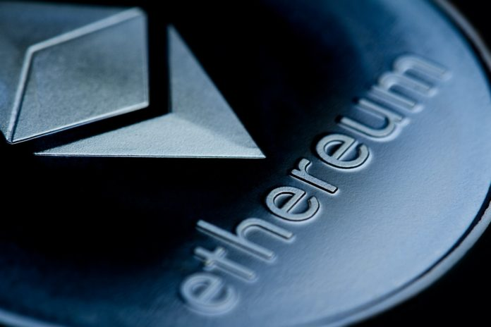 close up of on a blue coin ethereum logo